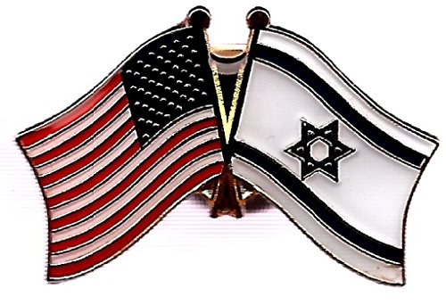 Box of 12 Israel & US Crossed Flag Lapel Pins, Israeli & American Double Friendship Pin Badge ()