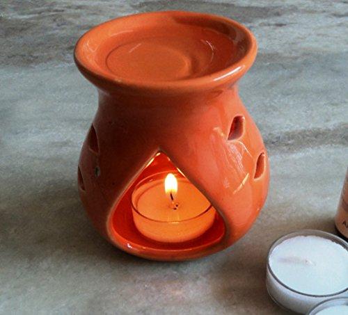 Pure Source India Ceramic Aroma Burner Clay LampOrange Colo