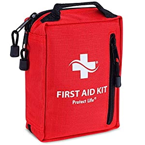 First Aid Kit – Emergency Survival Kit for Outdoors – Small First Aid Kit with Labelled Pockets for Camping, Hiking, Backpacking, Travel, Car, Cycling
