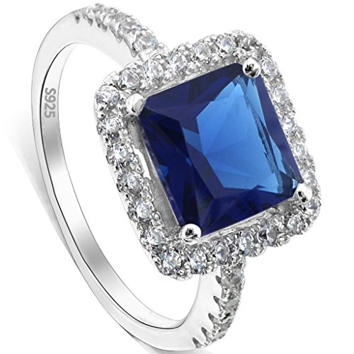 EVER FAITH 925 Sterling Silver Princess Cut Sapphire Color CZ September Birthstone Ring Blue Size 8 (Stone Silver Sterling Ring Color)