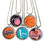 5 Basketball Bottlecap Necklaces - Party Favor