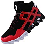 JOOMRA Men's Walking Shoes Ankle Boots Leather Lace up High Mid Top Hip Hop Footwear Jogging Fashion Sneakers Red 10 D(M) US