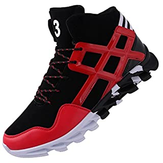 JOOMRA Men's Fashion Sneakers Walking Basketball Shoes Gym College Comfort High Top Casual Sport Footwear Jogging Tennis Shoes Red 7.5 D(M) US