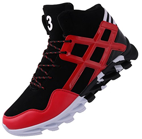 Sneakers Men Cheap - JOOMRA Men's Fashion Sneakers for Walking Jogging Gym Lace up High Top Spring Ankle Boots Leather Athletic Tennis Shoes Red 11 D(M) US