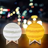[2018] Jupiter Lamp, Surenhap 2 Colors Jupiter Light with Touch Control, 3D Printing Adjustable Brightness Night Light, USB Charging Wooden Base Jupiter Lighting Home Decorative Lights Gifts (Jupiter Lamp 3.9 in)