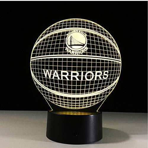 Efecto 3D Baloncesto Golden State Warriors Lámpara 7 Colores ...