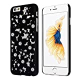 OVERMAL Sweet Girl ,Only for iPhone 6S case ,4.7 Inch Case,Hollow Out Pearl Flowers Back Case Cover Skin For iPhone 6S (Black)