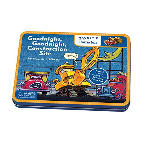 Mudpuppy Goodnight, Goodnight Construction Site Magnetic Character Set- Ages 3+ - Magnetic Play Set with 4 Scenes, 25+ Magnets - Great for Travel, Quiet Time - Magnets Adhere to Tin Package ()