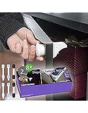 Serrures d'enfant de placard, serrures de sécurité d'enfant de KICCOLY magnétiques 4 serrures + 1 serrures adhésives de tiroir de bébé de clés aucun perçage