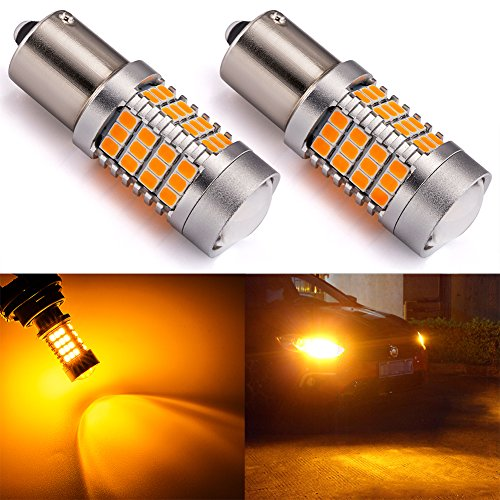 ENDPAGE 1156 1141 1003 7506 BA15S LED Bulb 2-pack, Amber Yellow, Extremely Bright, 54-SMD with Projector Lens, 10-30V, Work as Turn Signal Blinker Lights