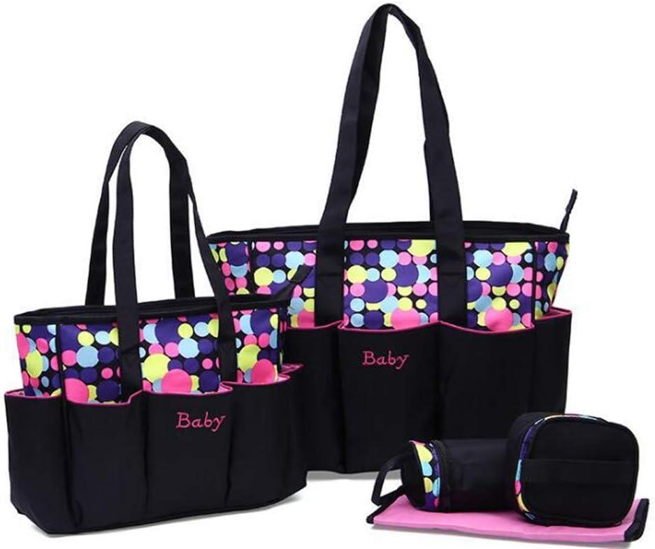 JIAHE 5 unids Grande bebé Bolsa de pañales Conjunto con Lunares de impresión para mamá Mujeres Bolsa de Asas Cambio de Maternidad Bolsas de pañales Organizador bebé Cuidado,Pink