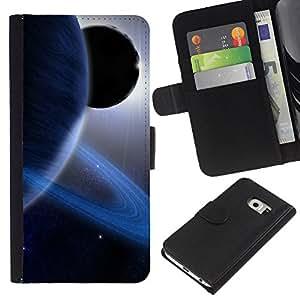 Planetar® Modelo colorido cuero carpeta tirón caso cubierta piel Holster Funda protección Para Samsung Galaxy S6 EDGE / SM-G925(NOT FOR S6!!!) / SM-G925(NOT FOR S6!!!) ( Space Planet Galaxy Stars 13 )