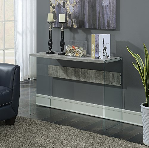 Convenience Concepts SoHo Console Table, Faux Birch / Glass (Shelf Soho Glass)