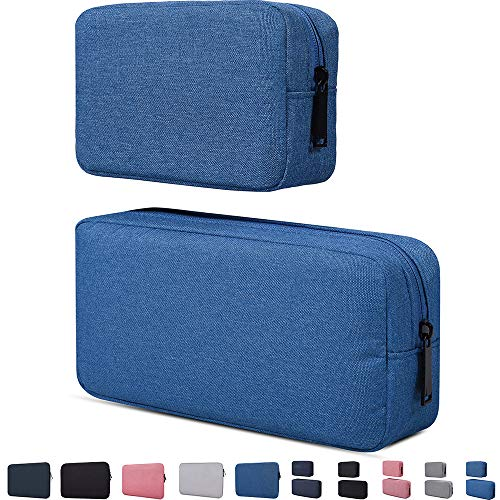 Universal Electronics Accessories Organizer Bag, Laptop Charger Gadget Organizer Bag,Light and Durable Easy to Carry 2 Pieces,Blue(Small+Big)