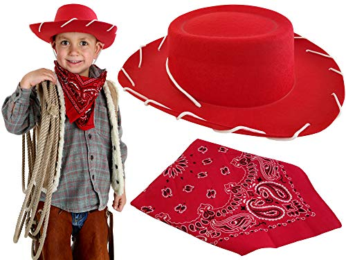 Red Cowboy Hat with Decoration Western Bandana Dress Up Woody Custome for Adults Kids Boys and Toddlers, Best Fit for Holloween, Christmas, Birthday Theme ()