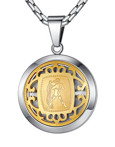 (Stainless Steel Aquarius Zodiac Horoscope Sign Pendant Necklace, Unisex, 21