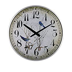 SMC 18-inch living room European Vintage birds Circular Ultra Thin Clock, Plastic Frame