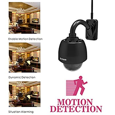 Sumpple Wireless WiFi 4X Optical Zoom PTZ Outdoor 960P Security Video Dome Camera Motion Sensor Activated with 4G SD Card Waterproof Night Vision Up to 98ft, Email Alarm, Work for IOS, Android or PC from Sumpple