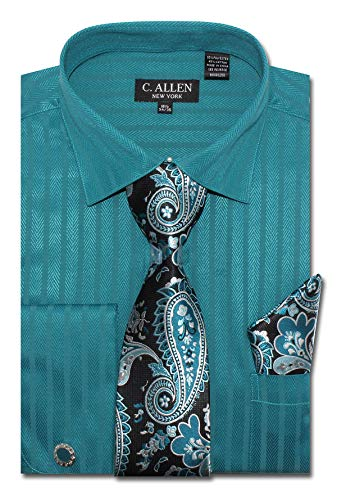 - C. Allen Men's Regular Fit Dress Shirts with Tie Handkerchief Cufflinks Combo Solid Color Herringbone Stripe Pattern Teal