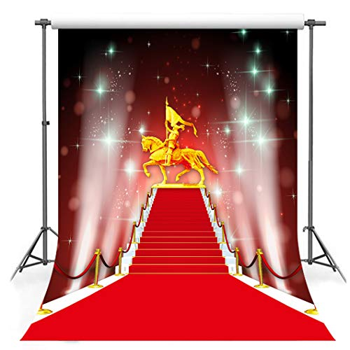 (5x7ft Stage Backdrop Soft Fabric Red Carpet Projector Lamp Steps Photography Backgrounds for Grand Party Banner Photo Studio Props LYFS705)