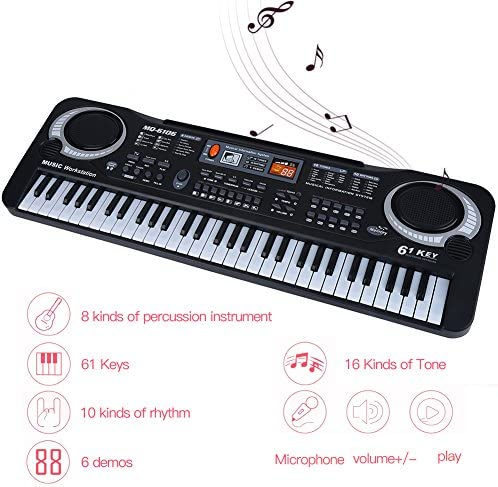 EDWARD MILLS Microphone /& Power Supply Black 61 Key Multifunctional Musical Electronic Keyboard Piano Portable Musical Instrument with USB MP3 Play
