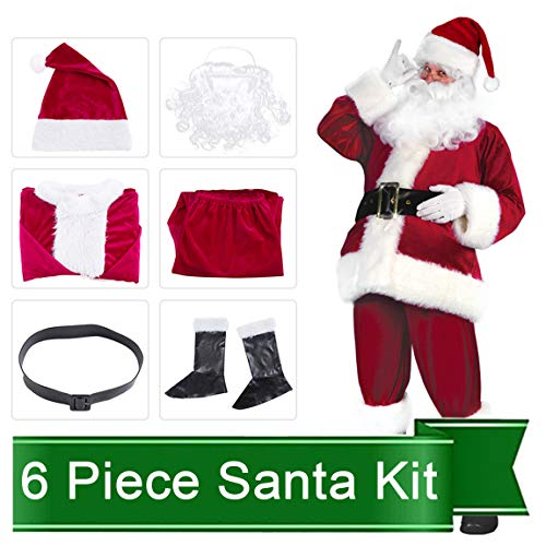 (Christmas Costumes Santa Claus Costume Set Men's Deluxe Santa Suit (2019 New Version 6 Pcs Santa)