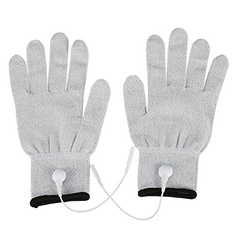 Pair of Conductive Massage Gloves, Silver Conductive Electrode Hand Gloves with Electrotherapy Lead Wires For Physical Therapy (#3)