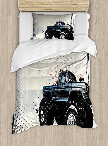 Ambesonne Truck Duvet Cover Set Twin Size, Halftone Pattern Background with Color Splashed Frame and Monster Truck Motif, Decorative 2 Piece Bedding Set with 1 Pillow Sham, Black Ivory