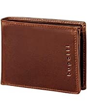 Bugatti Romano Geldbörse Herren Leder mit RFID Schutz – Portemonnaie Herren Querformat Braun – Geldbeutel Portmonee Wallet Brieftasche Männer Portmonaise