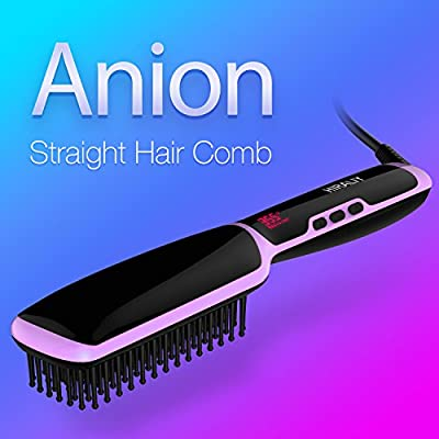 HIRALIY Portable Electric Hair Straightening Brush Fast PTC Ceramic Heating Detangling Straightener Brush with Adjustable Temperature/LCD Display