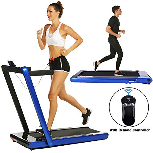 Smart Folding Treadmill,2 in 1 Electric Motorized Treadmills Portable Under Desk Treadmill Walking Jogging Running Exercise Fitness Machine with Remote Controller for Home Gym Office (2.25HP - Blue)