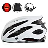 KINGBIKE Bike Helmet Men Women Bicycle Adult Cycling Specialized Road Mountain MTB Helmets for Mens Womens Adults Casco para Bicicleta with Safety Light Portable Bag Accessories(White)