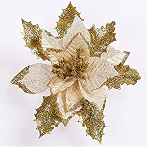 Aumee Christmas Tree Ornament Flowers, Glitter Poinsettia Beautiful Artificial Decorative Artificial Flowers Suitable for Halloween Festival Etc 105
