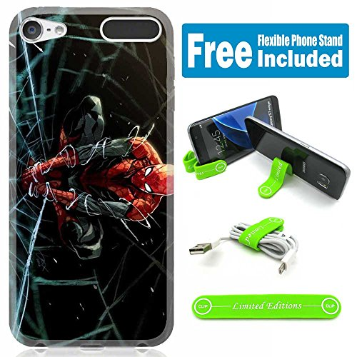 [Ashley Cases] TPU Skin Cover Case for iPod Touch 5th/6th Generation with Flexible Phone Stand - Spiderman Web Drawing - Spiderman Case For Ipod