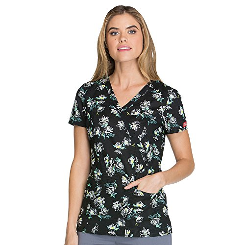 Dickies Fashion Prints by Women's Mock Wrap Floral Print Scrub Top Awesome Blossom Small (Wrap Spi)