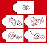 Designer Stencils C480 Five Scroll Cake Stencil Set, Beige/semi-transparent