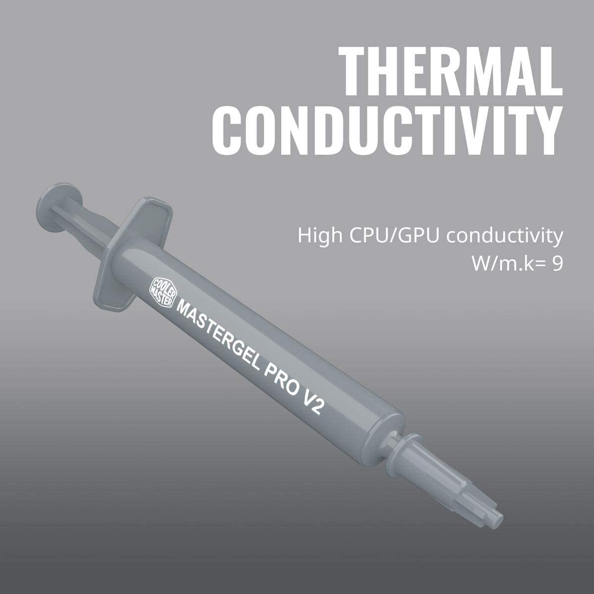 Cooler Master MasterGel Pro V2 High Performance Thermal Compound with High CPU//GPU Conductivity W//m.k= 9m/ Design for CPU and GPU/Coolers