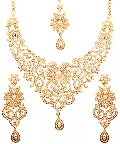 Touchstone Indian Bollywood Traditional Royal Look Fine Filigree Carving Faux Pearls Grand Bridal Designer Jewelry Necklace Set for Women in Antique Gold Tone.