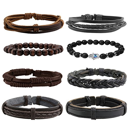Eigso 8Pcs Bracelets Set for Men Women Evil Eye Lava Rock & Braided Leather Bracelets