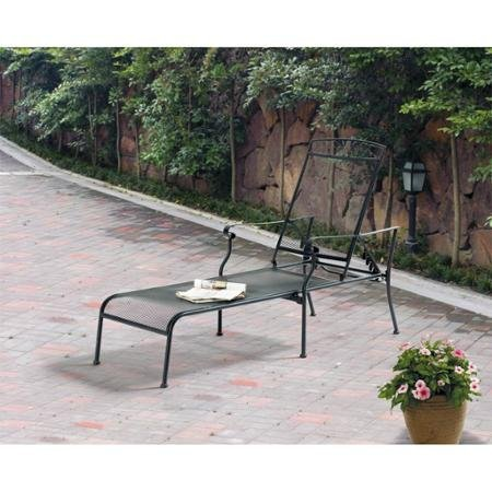 Mainstays Jefferson Patio Wrought Iron Chaise Lounge with 5-position adjustable back, Black by Mainstays