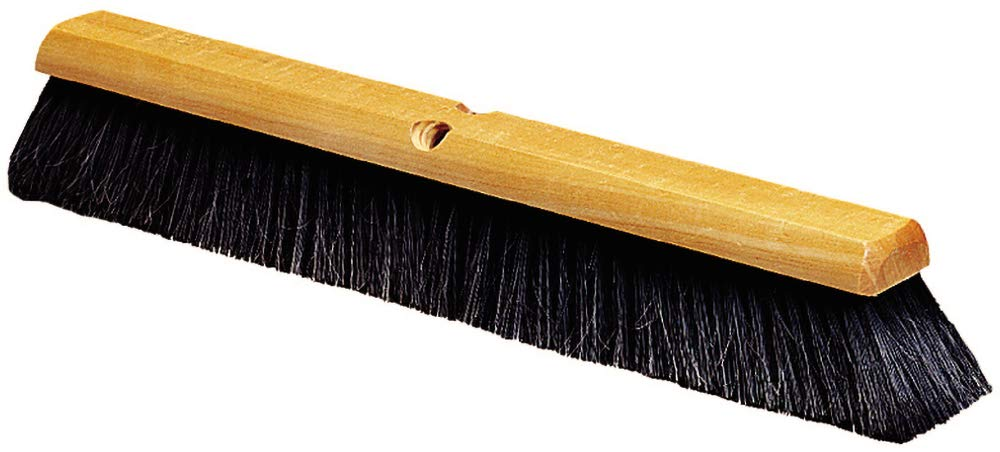 Carlisle 4503103 Flo-Pac Fine Floor Sweep, Blended Horsehair Bristles, 24'' Block Width, 3'' Bristle Trim, Black (Case of 12)