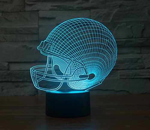 [FLYMEI 3D Optical Illusion Desk Lamp Unique Night Light for Home Decor 7 Colors Changing USB Powered Touch Button LED Table Lamp - BEST Gift for Kids/ Friends/ Birthdays/Holidays (Football] (Dark Helmet Costumes Spaceballs)