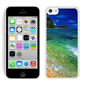 Popular iPhone 5C Case ,Tunnels Beach Kauai Hawaii White iPhone 5C Screen Case Hot Sale And Fashionable Designed Cover Case