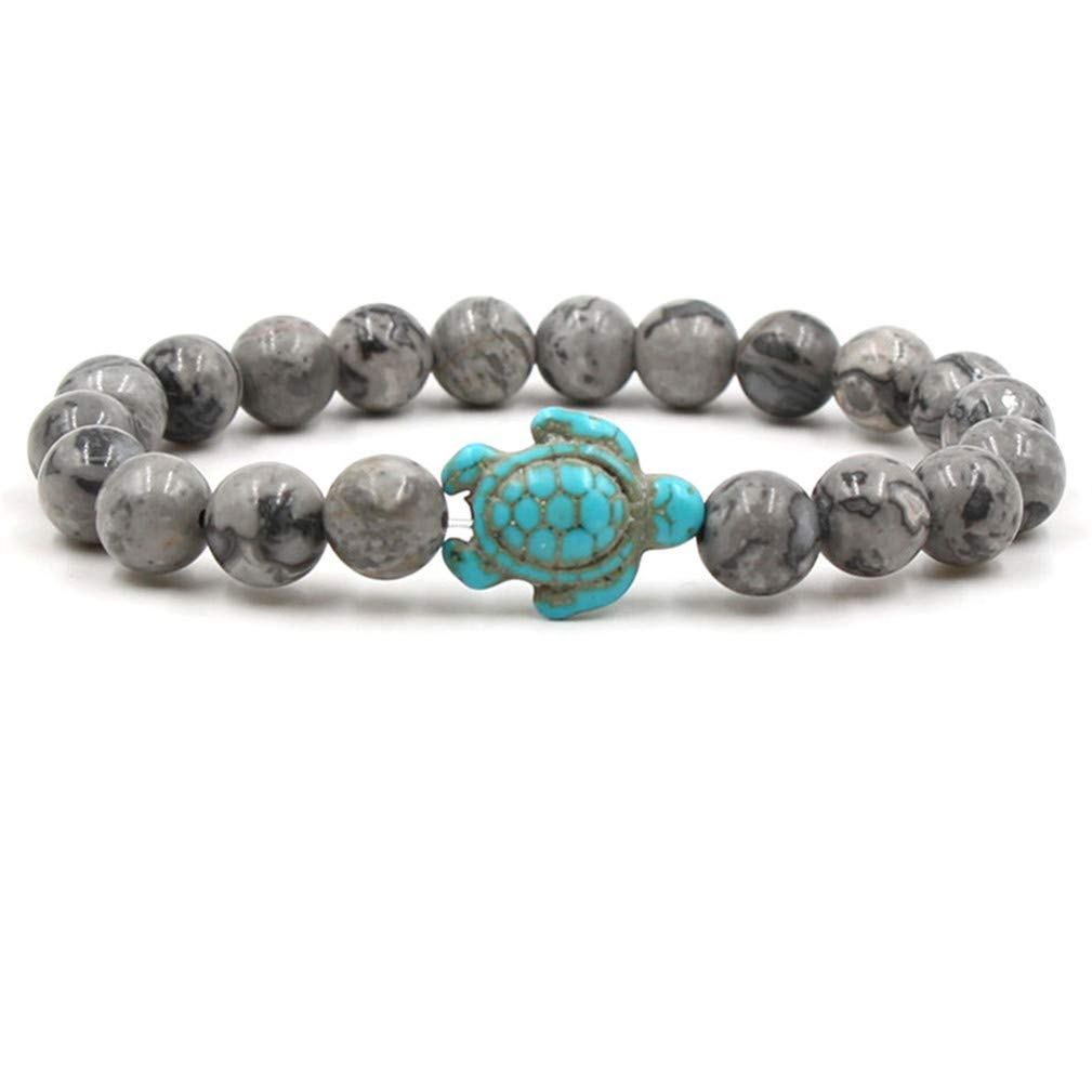 SONGLIN Pattern Agate Stone Sea Turtle Beads Bracelets for Women Men Classic Natural Stone Elastic Bracelet Beach Jewelry