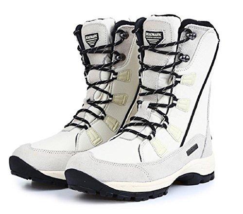 Roadmark Women's Waterproof Winter Snow Boots Mid Calf Rain Warm Boot (US8.5, White)