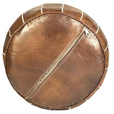 Moroccan Buzz UNSTUFFED Premium Leather Pouf Ottoman Cover, Natural Brown (UNSTUFFED Pouf)