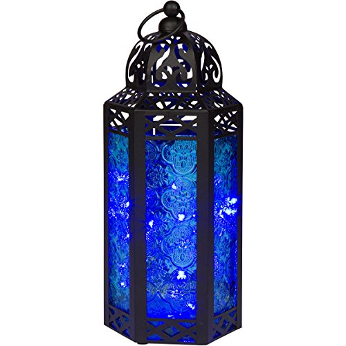 Cheap  Blue Glass Moroccan Style Lantern with Optional Matching LED Fairy String Lights