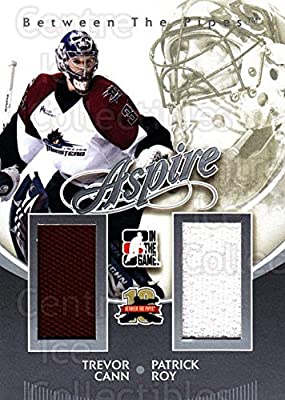 (CI) Trevor Cann, Patrick Roy Hockey Card 2011-12 Between The Pipes Aspire Jersey Silver 4 Trevor Cann, Patrick Roy