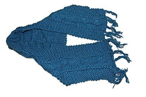 Bonnet écharpe capuche femme grosse maille mode fashion (TU, Bleu ... ac589cf0fcd