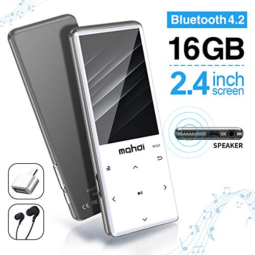 MYMAHDI MP3 Player with Bluetooth 4.2, Touch Buttons with 2.4 inch Screen, 16GB Portable Lossless Digital Audio Player with FM Radio, Voice Recorder, Support up to 128GB, Silver (Zune Screen)